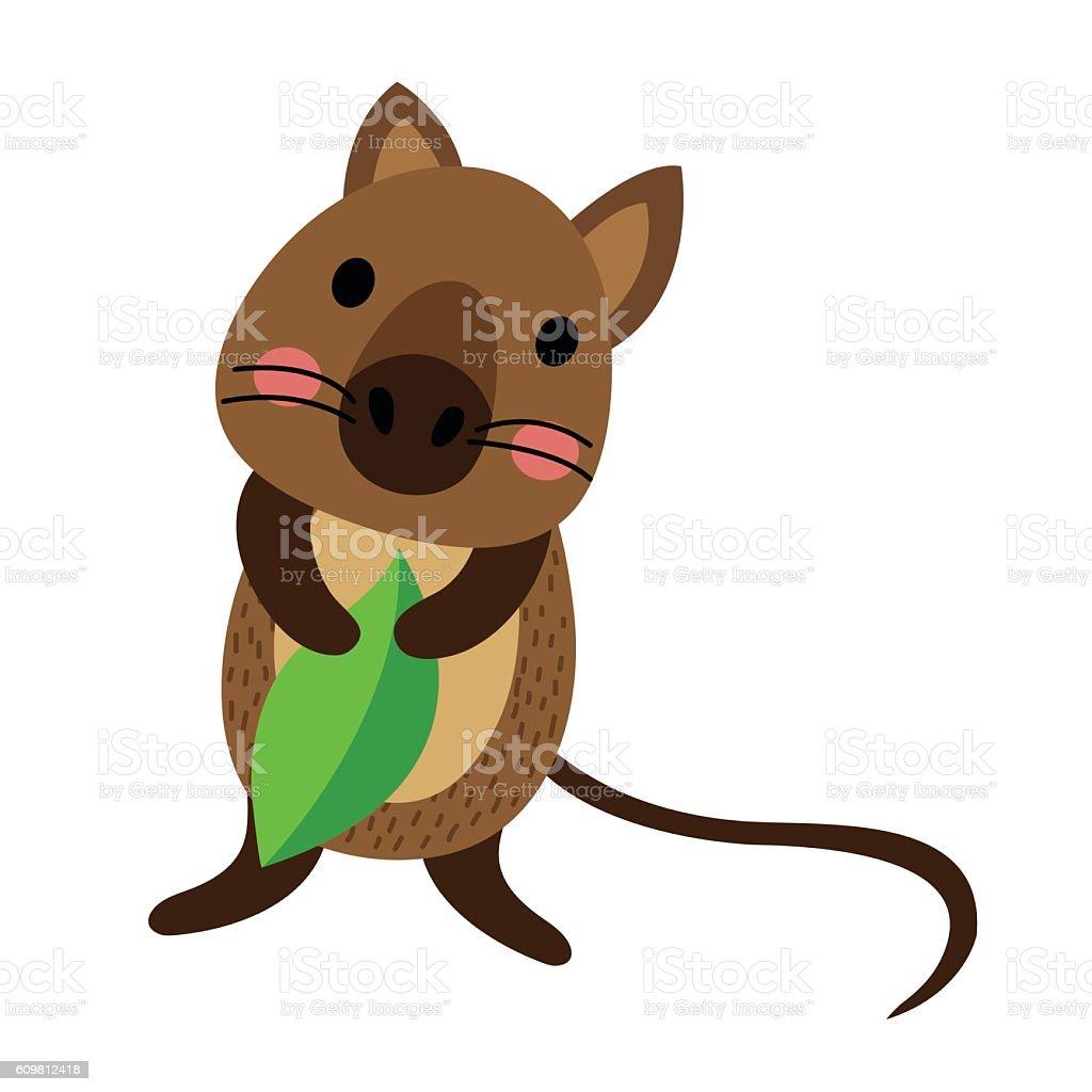 quokka holding leaf animal cartoon character vector. Black Bedroom Furniture Sets. Home Design Ideas