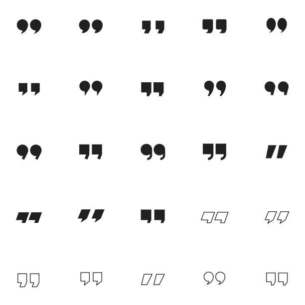 Quotation mark icon set Quotation mark icon set , vector illustration speech bubble stock illustrations