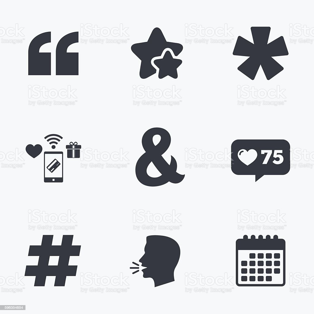 Quote, asterisk footnote icons. Hashtag symbol. royalty-free quote asterisk footnote icons hashtag symbol stock vector art & more images of ampersand
