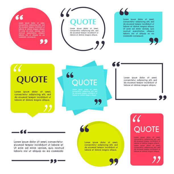 Quote blank template. Design elements, circle business card, paper sheet, information, text  for your design. Quote blank template. Design elements, circle business card, paper sheet, information, text  for your design. speech bubble stock illustrations