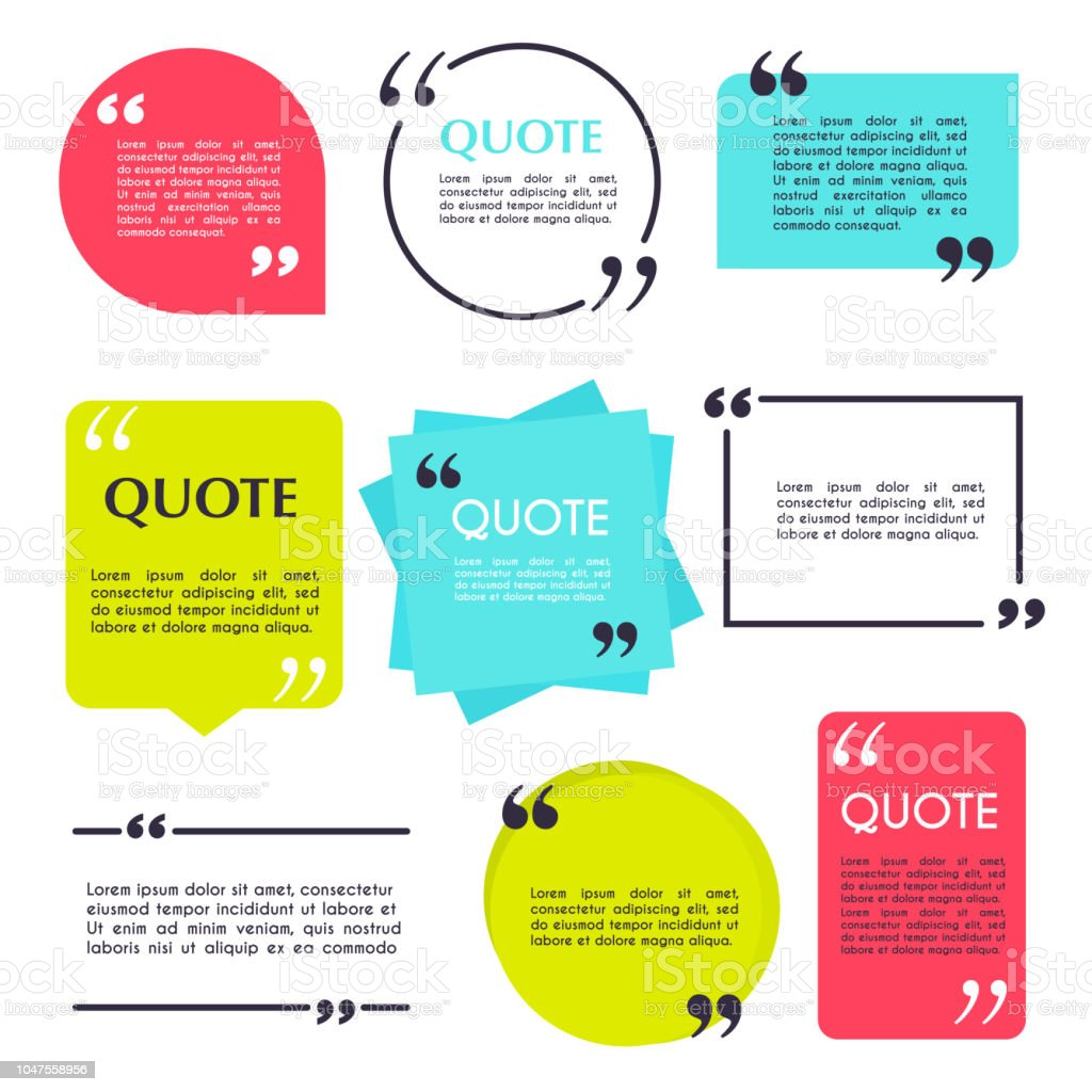 Quote blank template. Design elements, circle business card, paper sheet, information, text  for your design. vector art illustration