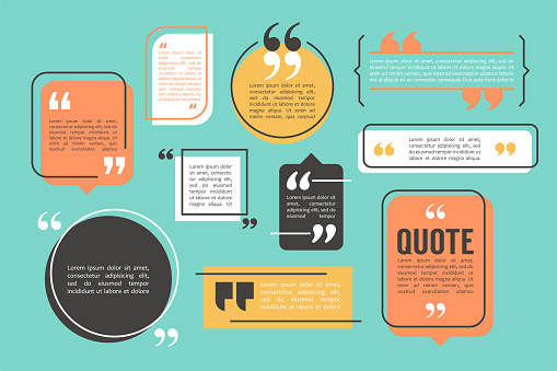 Quote box and speech bubble templates set