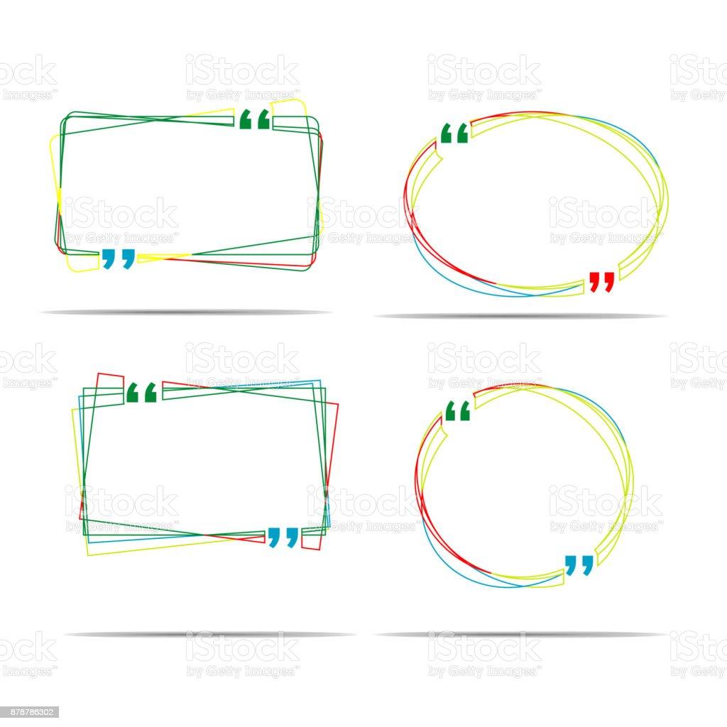 カラフルなラインの引用ボックス バブル音声ボックス テンプレートが分離