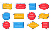 istock Quote box frame. Template text quotations, speech bubbles. Vector illustration. 1262490361
