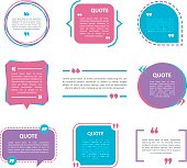 Quote box vector set on a white background.