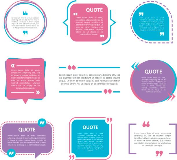 quote box vector set on a white background. - cytat tekst stock illustrations