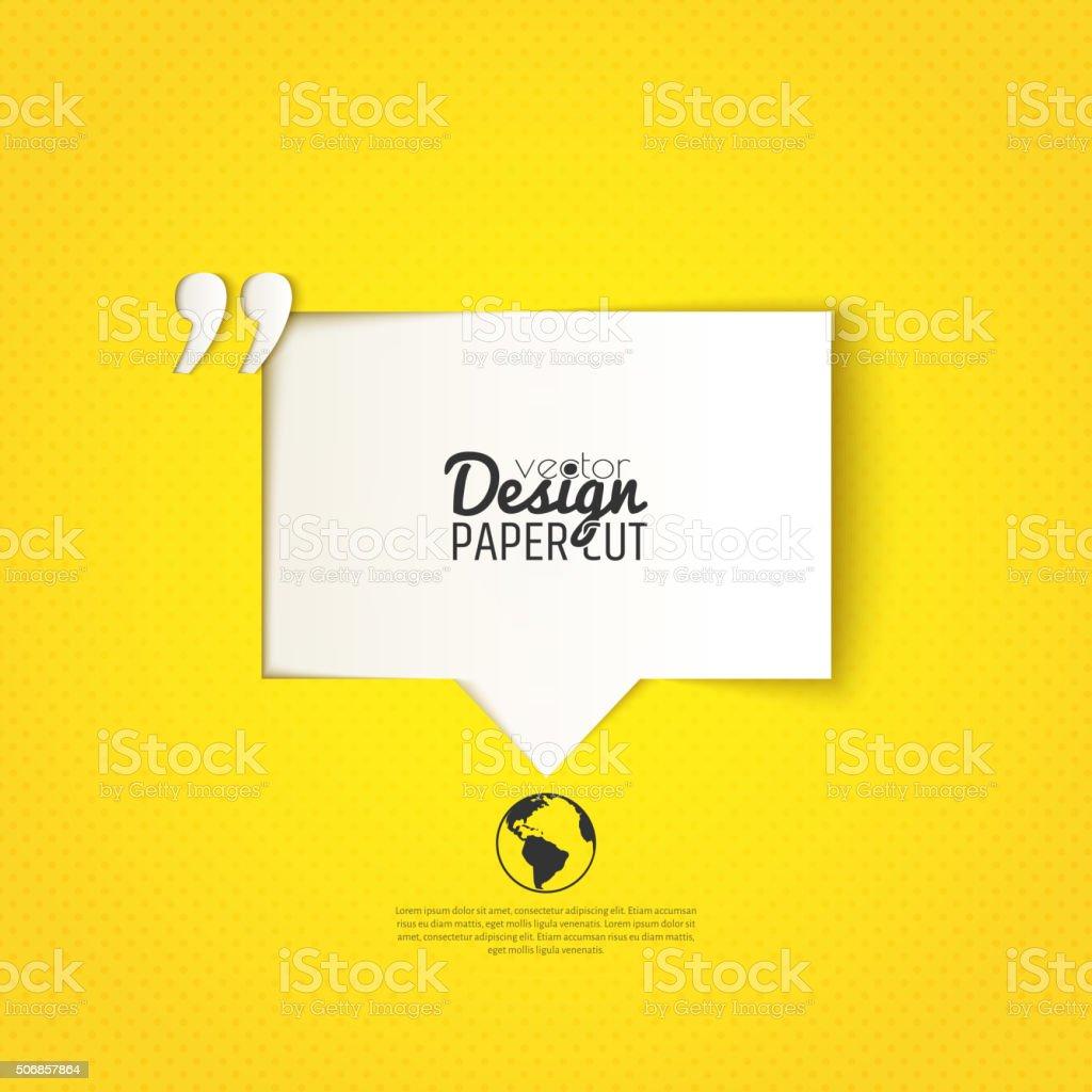 Angebots-Blase mit Anführungszeichen auf gelbem Hintergrund. Vektor-design – Vektorgrafik