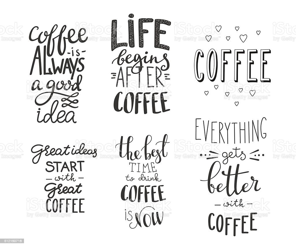 Quote coffee vector typography set vector art illustration