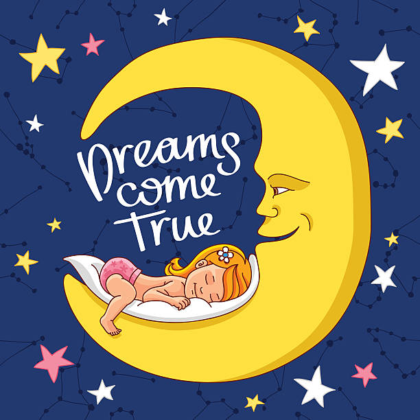 Quote Dreams come true. Quote Dreams come true. The trend calligraphy. Vector illustration on a blue background. The baby sleeps on a yellow moon. little girls in panties stock illustrations