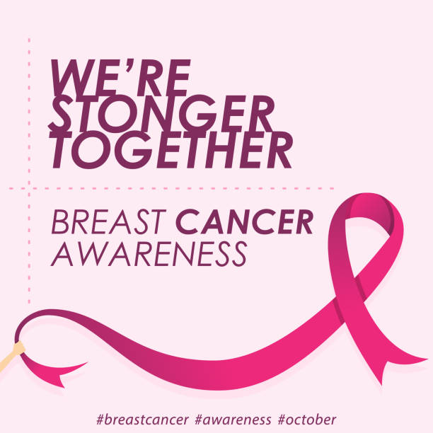 quote for breast cancer day in flat style with color pink - breast cancer awareness stock illustrations
