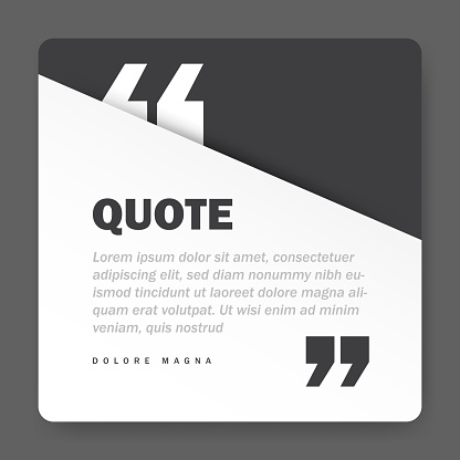 Quote form on square paper banner with shadow, vector design template
