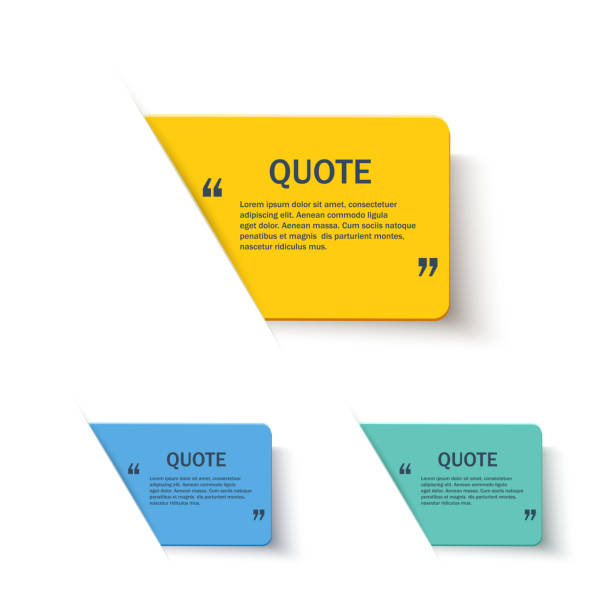 Quote forms set on paper banner Quote forms color set on paper banner with shadow, vector design template container stock illustrations