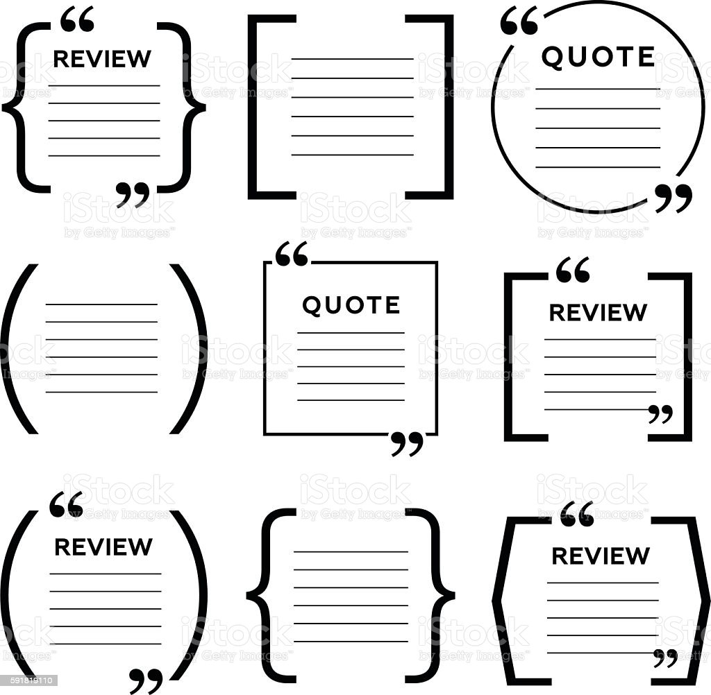 Quote frames. Blank template with print information vector art illustration