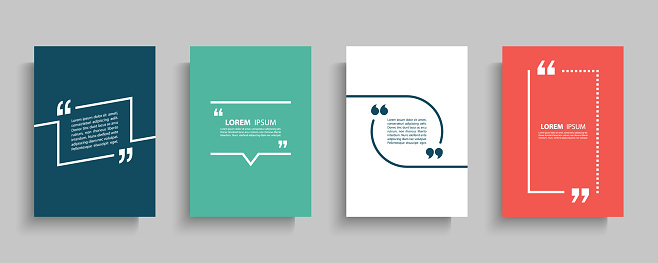 Quote frames blank templates set. Text in brackets, citation empty speech bubbles, quote bubbles. Textbox isolated on color background.