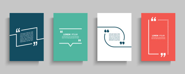 Quote frames blank templates set. Text in brackets, citation empty speech bubbles, quote bubbles. Textbox isolated on color background. Quote frames blank templates set. Text in brackets, citation empty speech bubbles, quote bubbles. Textbox isolated on color background. Vector illustration. inspirational quotes stock illustrations