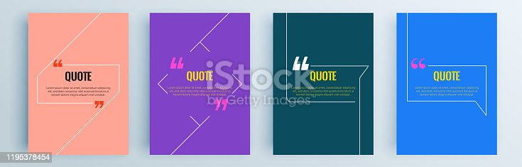 istock Quote frames blank templates set. Text in brackets, citation empty speech bubbles, quote bubbles. Textbox isolated on color background. Vector illustration. 1195378454