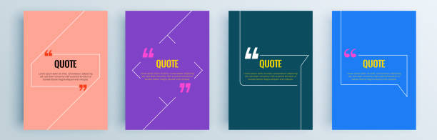 Quote frames blank templates set. Text in brackets, citation empty speech bubbles, quote bubbles. Textbox isolated on color background. Vector illustration. Quote frames blank templates set. Text in brackets, citation empty speech bubbles, quote bubbles. Textbox isolated on color background. Vector illustration. speech bubble stock illustrations