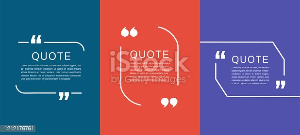 Quote frames templates. Quote text bubbles. Vector illustration
