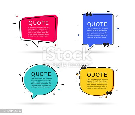 Quote frames templates. Speech bubble textbox. Flat design. Vector illustration