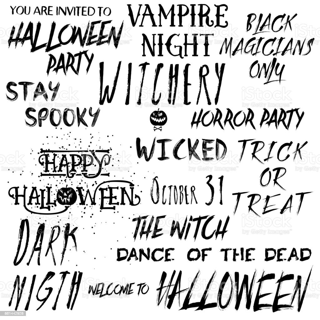 Quote Halloween Typography Set Calligraphy Horror Style Collection Holiday  Lettering Scary Phrase Overlay Set Poster Photo Flyer Graphic Design  Element Hand ...