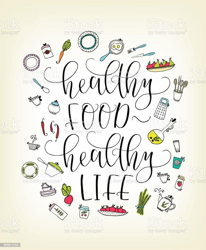 Gesunde Ernährung Gesundes Leben Zu Zitieren Schriftzug Elemente Der ...