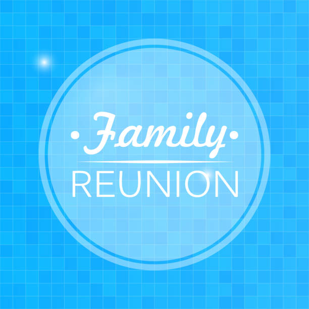 quote, inspirational poster, typographical design, family reunion, blurred blue background - family reunion stock illustrations, clip art, cartoons, & icons