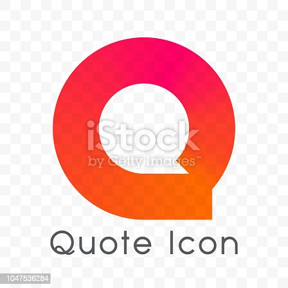 Quote logo of bubble message vector in letter Q shape of red and orange color