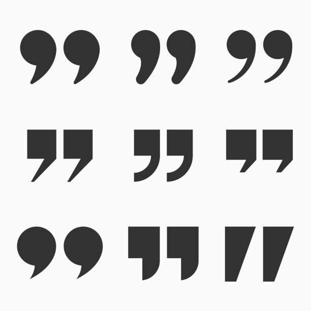 Quote mark icon set for conversation or definition. SET 3 Quote mark icon set for conversation or definition. Quote speech symbol vector illustration. Citation double comma graphic design collection for comment or punctuation sign. SET 3 speech bubble stock illustrations