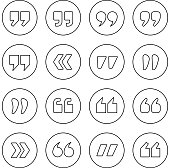 Quote marks outline circle vector icons