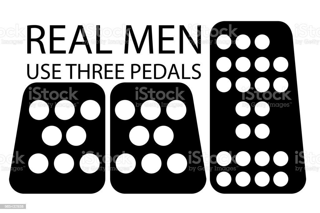 Devis, vrais hommes utilisent trois pédales - clipart vectoriel de Communication globale libre de droits
