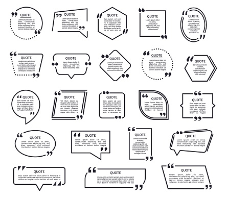Quote shapes. Black texting frames, quotes boxes with quotation marks. Speech bubble, mention text frame, citation box template vector set