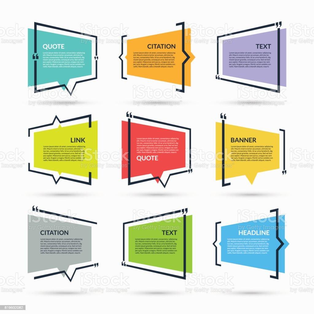 Devis bulle, modèle vierge, texte entre crochets, bloc vide de citation, boite de citation isolé sur fond blanc - Illustration vectorielle