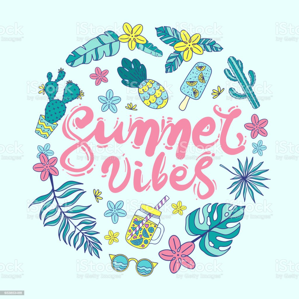 Quote Summer Vibes Hand Drawn Vector Illustration Of ...