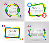 Quote template colorful information text blog business mobile isolated white background vector illustration