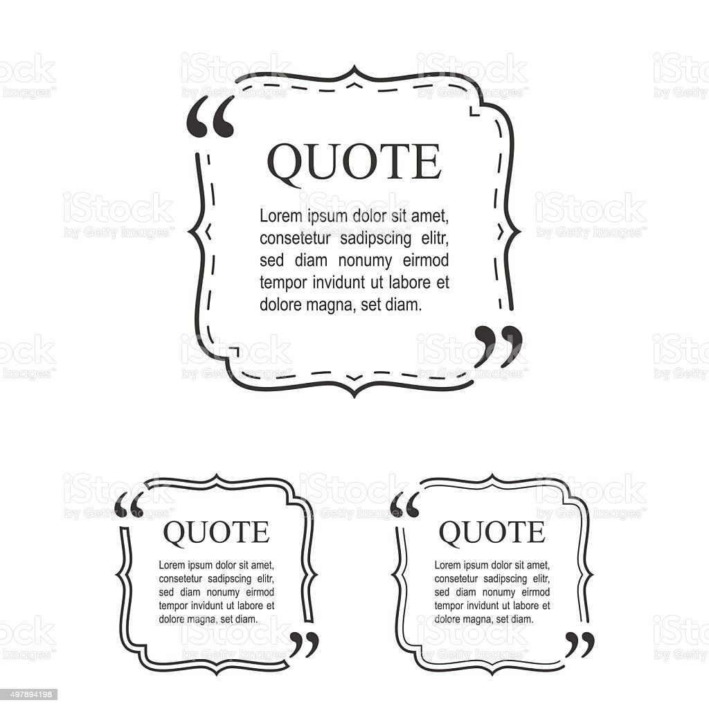 Quote Template In Vintage Frame Set. Decorative Quotation Collec vector art illustration