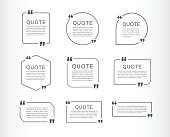 Quote template set. Quote speech box. Vector illustration