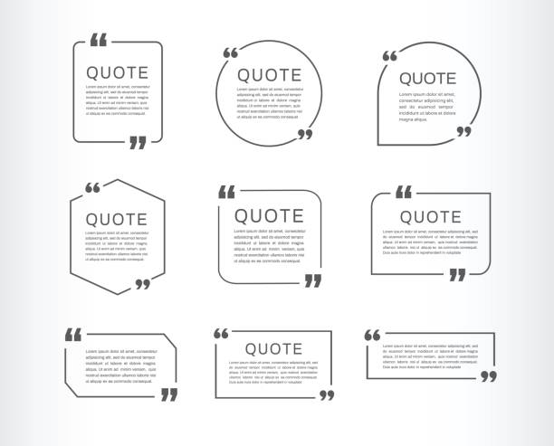 quote template set. quote speech box. vector illustration - cytat tekst stock illustrations