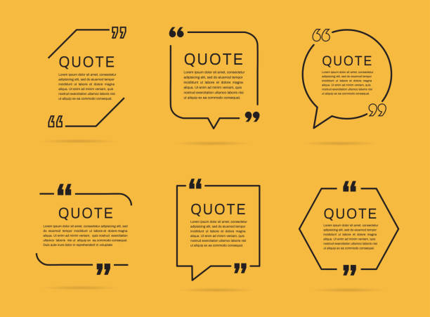 Quote template set. Quote speech box. Vector illustration Quote template set. Quote speech box. Vector illustration speech bubble stock illustrations