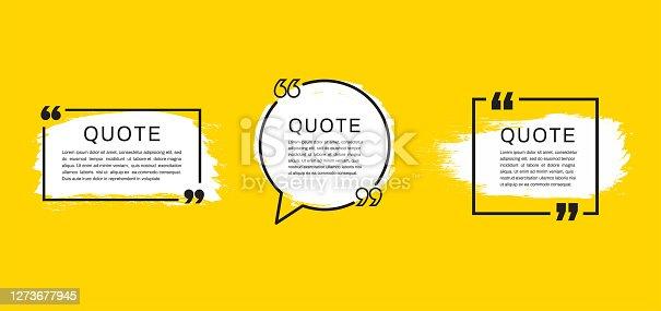 Quote template set. Quote speech box. Vector illustration