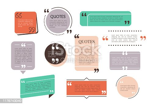 Quote text box, bubble for comment, mark design. Set of quotation banner template in flat modern style. Vector illustration background.