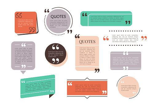 Quote text box, bubble for comment, mark design. Set of quotation banner template in flat modern style. Vector illustration background