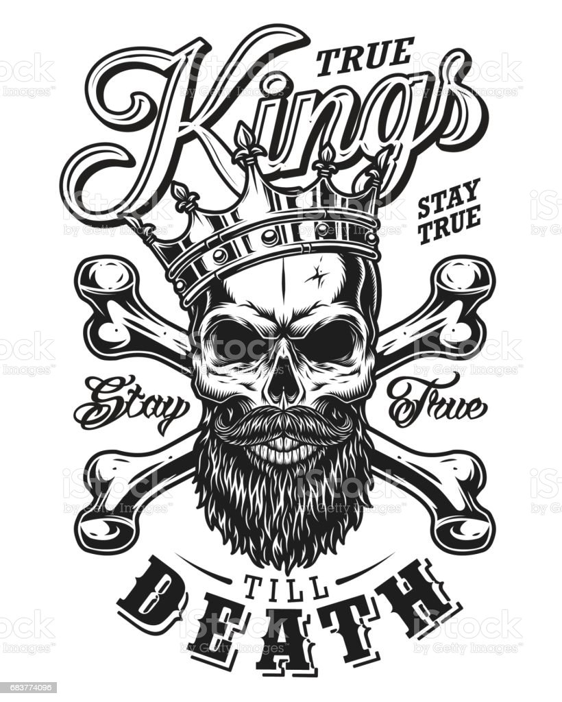 Quote Typography With Black And White King Skull In Crown Beard