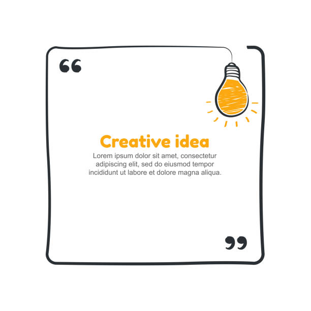 Quote with hand drawn sketch bulb. Vector creative idea concept Quote with hand drawn sketch bulb. Vector creative idea concept. travel agents stock illustrations