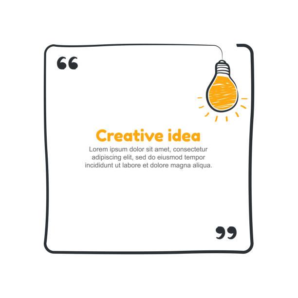 zitat mit handgezeichneten skizze birne. vektor-kreative idee-konzept - reisebüro stock-grafiken, -clipart, -cartoons und -symbole