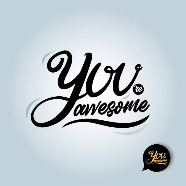 Quote You're awesome. T-shirt Fashionable calligraphy. You're awesome Vector illustration on white background. Motivation and inspiration. Elements for design. you re awesome stock illustrations