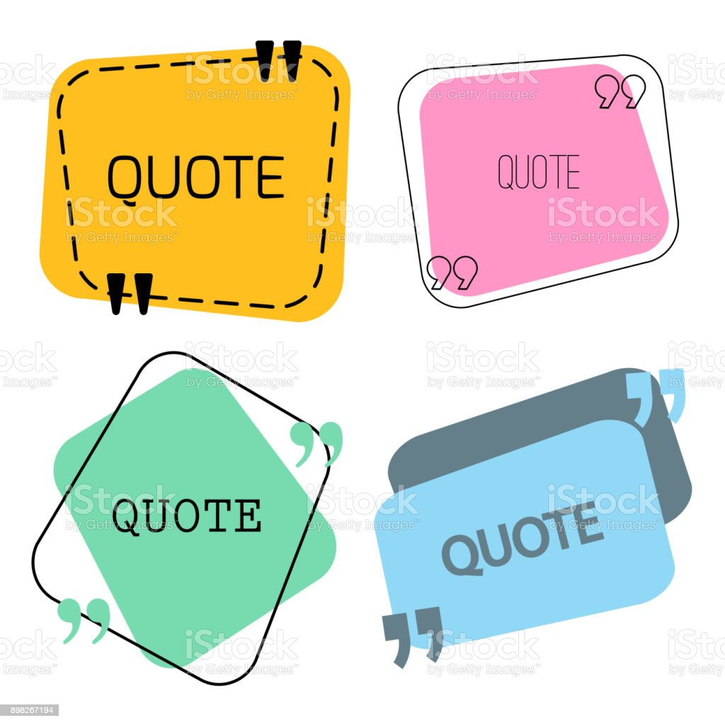 quotes frame and sign set vector art illustration