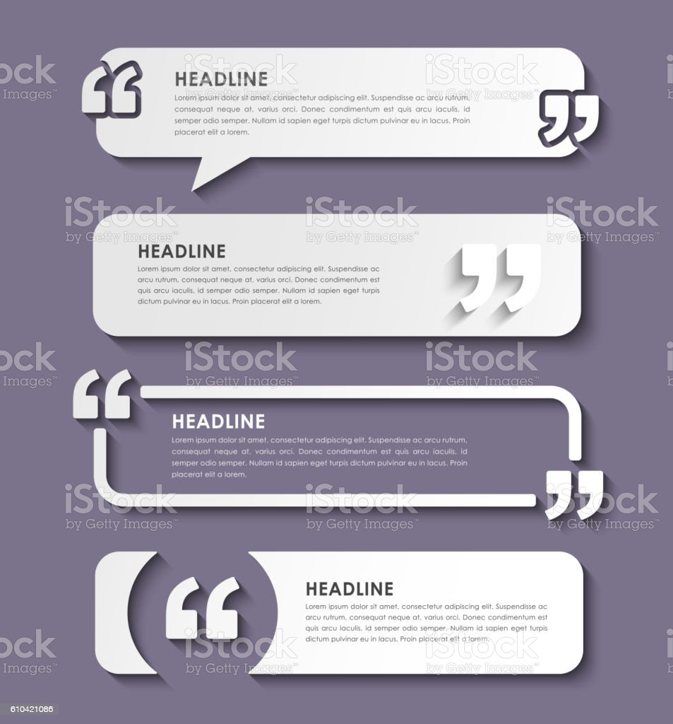 Quotes in quotation marks in on banners – Vektorgrafik