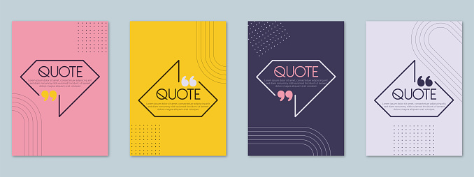 Quotes quote frames blank templates set. Text in brackets, citation empty speech bubbles, quote bubbles. Textbox isolated on pastel colors background.