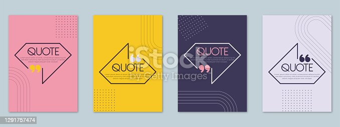 istock Quotes quote frames blank templates set. Text in brackets, citation empty speech bubbles, quote bubbles. Textbox isolated on pastel colors background. 1291757474