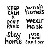 istock Quotes set about coronavirus. Wash hands, stay home, do not panic, wear mask, use sanitiser. Hand drawn lettering in modern scandinavian style. Isolated on white background. Vector stock illustration. 1225225644